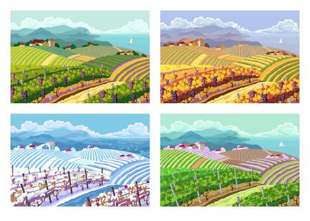 Landelijk landschap met wijngaard en de bergen panoram. Vier seizoen.