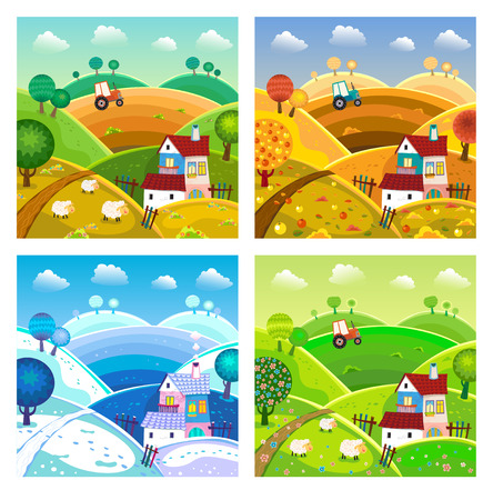 Rural landscape with hills, house, mill and tractor. Four seasons. Vector