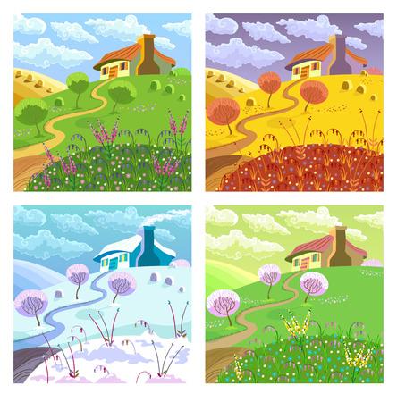 Landelijk landschap met heuvels, huis, tuin en hooi. Vier seizoenen. Stock Illustratie