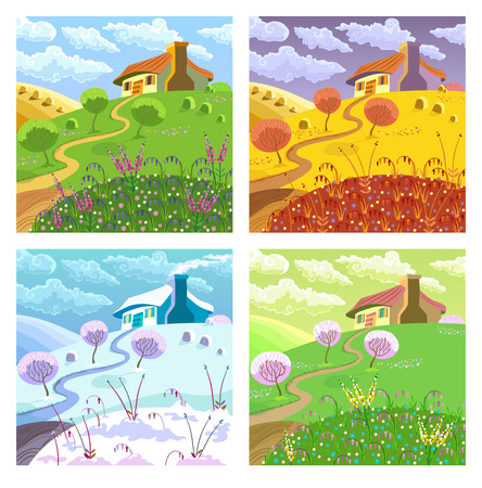 Rural landscape with hills, house, garden and hay. Four seasons. Illustration