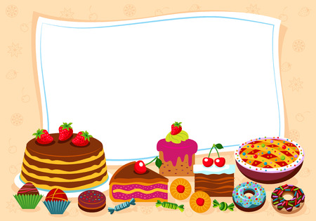 sweet stuff: Vector background with candy, sweet and pastry and with place for your text. Illustration