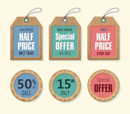 Price and discount tags retro color design, vector illustration.