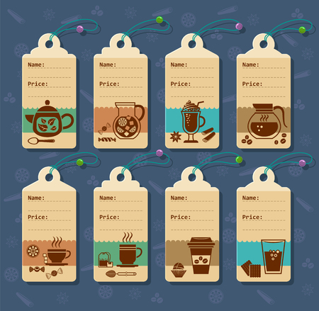 Set of vector price tags for drinks and juices.