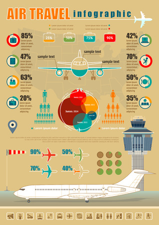 airport symbol: Vector air travel infographic with airport and design elements.