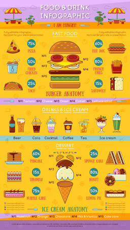 gateau: Fast food and drinks infographic. Vector illustration.