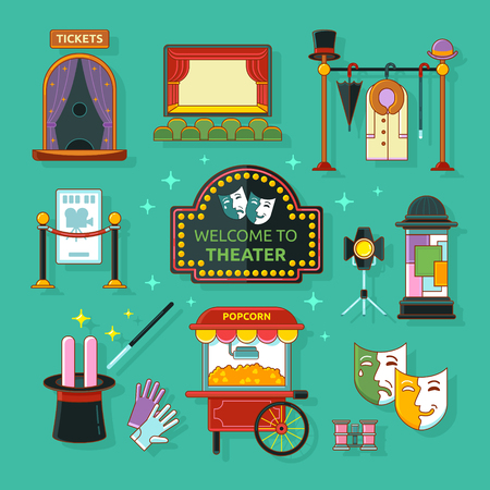 checkroom: Theatre icons set with scene, light, ticket office, checkroom, signboard isolated vector illustration. Concept theatre art.