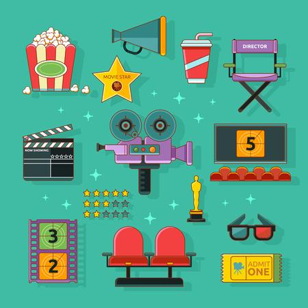 Cinema icons set with camera, cinema hall, popcorn isolated vector illustration. Concept cinema art.
