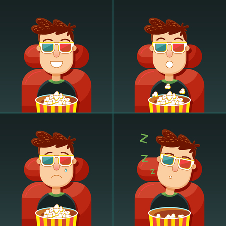 echnology: Emotion in the cinema. Fun, fear, sadness and boredom. Man in 3d glasses seating in chair with popcorn in cinema. Concept: comedy, horror, drama and boring movie. Illustration