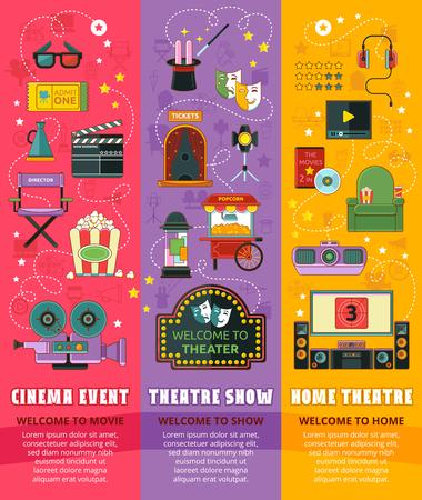 checkroom: Cinema, theatre, home theatre icon set. Vector illustration. Illustration