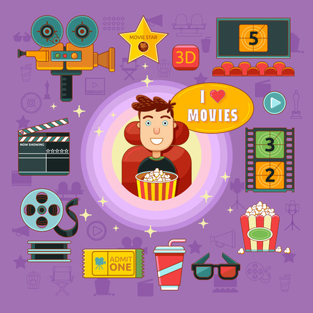 onlooker: Cinema icons set with spectator, camera, cinema hall, popcorn isolated vector illustration. Concept cinema art.