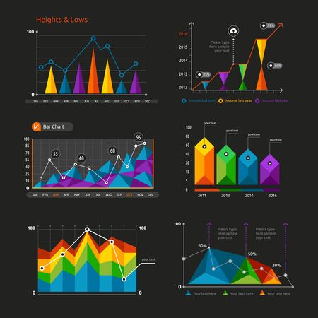Graphs and charts set. Statistic and data, information infographic, vector illustration. Vector Illustration