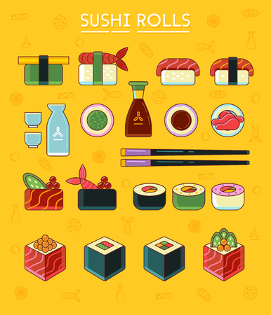 soy: Sushi and rolls set icons, flat style. Japanese sushi and rolls, wasabi, soy sauce, ginger, sake and chopsticks. Vector illustration, clip art