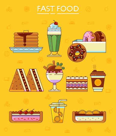 gateau: Fast food dessert. Vector illustration graphic.