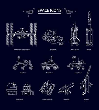 space station: Set of line design space icons. The Space Station, astronaut, Shuttle, Rocket, Rover, Telescope and Observatory.