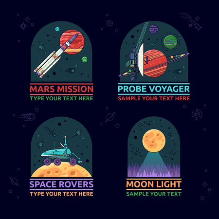 voyager: Set of space icons. The mars misson, probe voyager, space rover and moon light on a background of outer space.