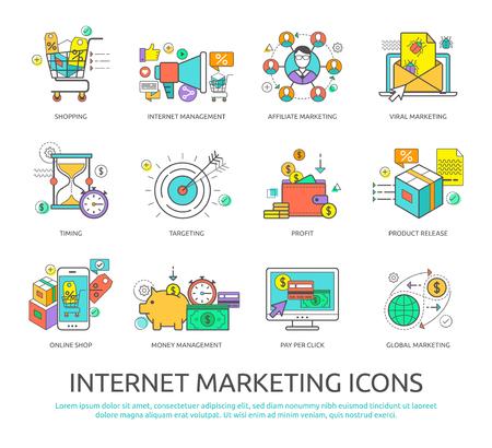 Conjunto de iconos del diseño de línea plana de la comercialización del Internet y los negocios para los diseñadores gráficos y web.