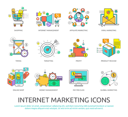 icons business: Set of flat line design icons of internet marketing and business for graphic and web designers. Illustration