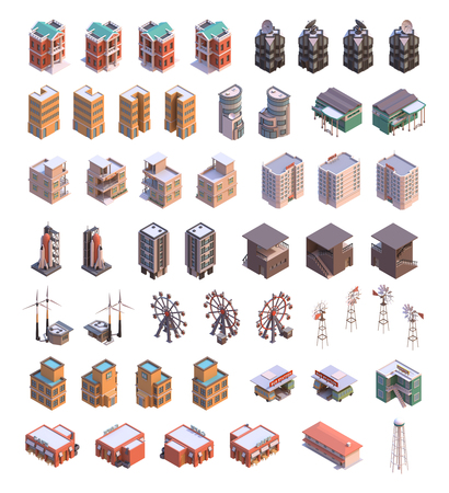 Isometric 3d buildings icons set which includes offices, space science institute, tax office, insurance company, supermarket, motel, bank, spaceport, cafe, ferres wheel, hostel and other industrial structures