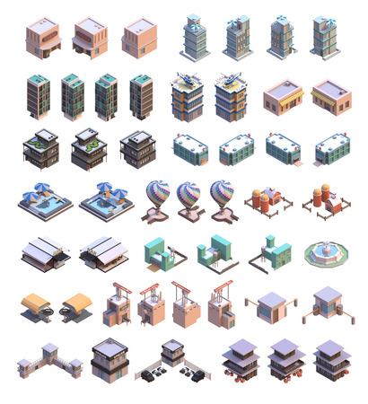 Isometric 3d buildings icons set which includes  offices, homes, shops, stores, golf club, hospital, factory, farm house, police, parking, fountain, bar, cableway station and other industrial structures Stock Photo
