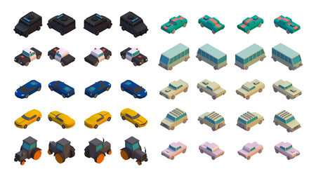 3D Isometric Cars icons. Various Automobiles, Truck, Bus, Vans, Tractor isolated on white background. Set of four different views.