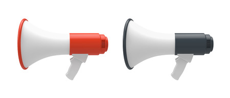 Two 3d Megaphones isolated on a white background.