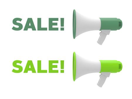 Two different color megaphone and sale text. Sale concept. 3D rendering.