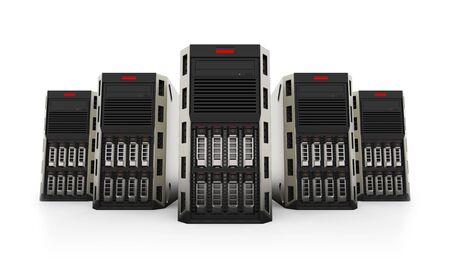 Netwerk Servers geïsoleerd op een witte achtergrond. 3D-weergave.