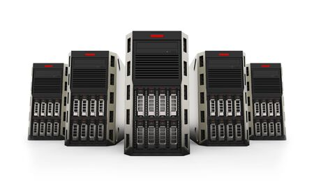 Network Servers isolated on white background. 3d rendering. Stock Photo