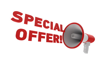 Red megaphone with special offer text isolated on a white background. Special offer concept. 3D rendering. Фото со стока