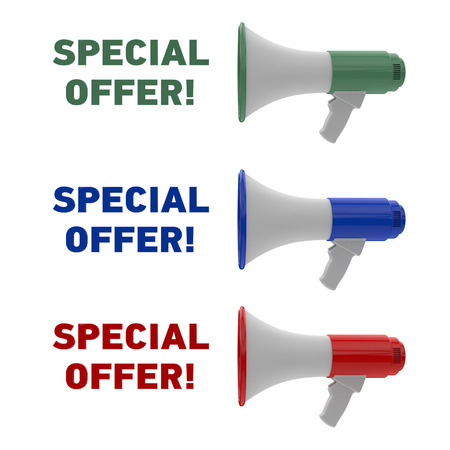 Set of different color megaphone with special offer text isolated on a white background. Special offer concept. 3D rendering. Фото со стока