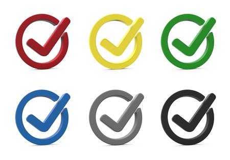 3d set van verschillende kleur controle punten. 3D-weergave. Concept oke. Stockfoto