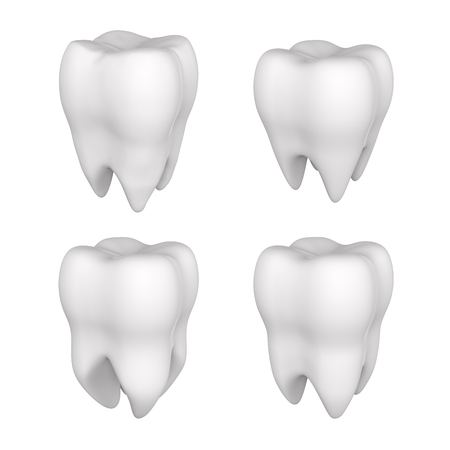 Set of 3d tooth isolated on a white background. Medicine and healthcare.