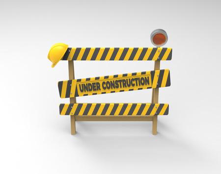 Onder constructie concept. 3D-barrière, helm en lantaarn op een grijze achtergrond. Stockfoto