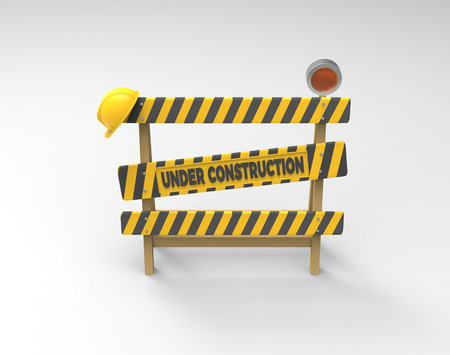 Under construction concept. 3D barrier, helmet and lantern on a gray background. Фото со стока