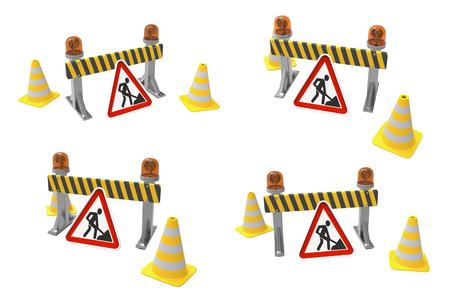 In aanbouw concept. Barrière en lantaarn isoleerden een witte achtergrond. 3D-rendering. 3D illustratie. Stockfoto