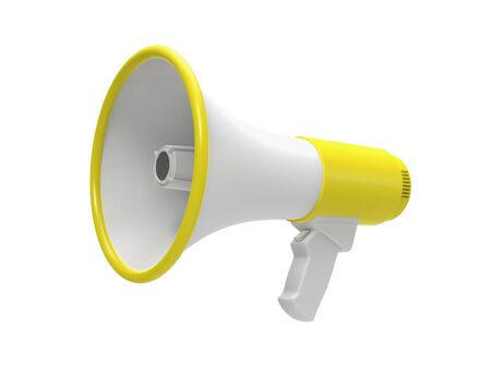 Megaphone 3d rendering isolated on a white background. 3D illustration. Фото со стока