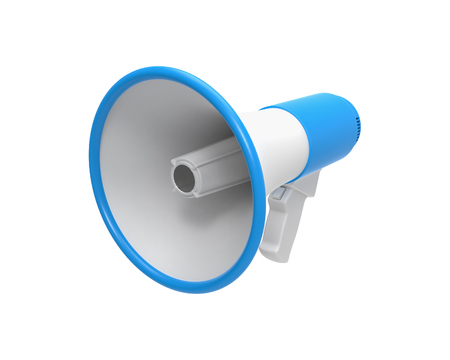 3d blue Megaphone isolated on a white background. 3D rendering, 3D illustration.