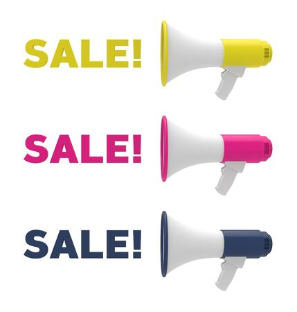 Set of different color megaphone and sale text. Sale concept. 3D rendering, 3D illustration.