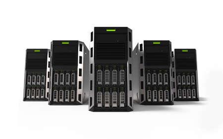 Netwerk Servers geïsoleerd op een witte achtergrond. 3D-weergave. 3D illustratie.