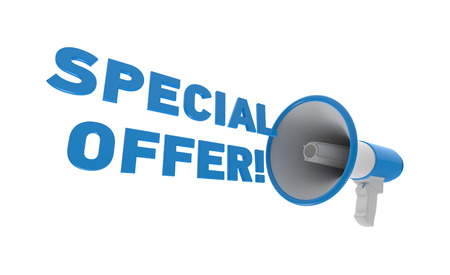 Blue megaphone with special offer text isolated on a white background. Special offer concept. 3D rendering. 3D illustration.
