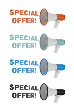 Set of different color megaphone with special offer text isolated on a white background. Special offer concept. 3D rendering, 3D illustration.