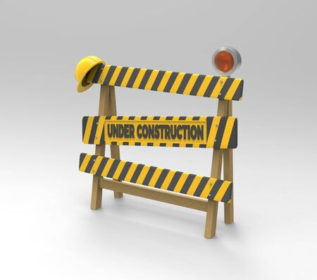 Under construction sign. 3D barrier, helmet and lantern on a gray background. 3D rendering. 3D illustration.