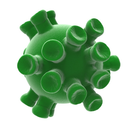 3d teruggegeven Virus dat op een witte achtergrond wordt geïsoleerd. Coronavirus. 3D-weergave. 3D illustratie. Stockfoto