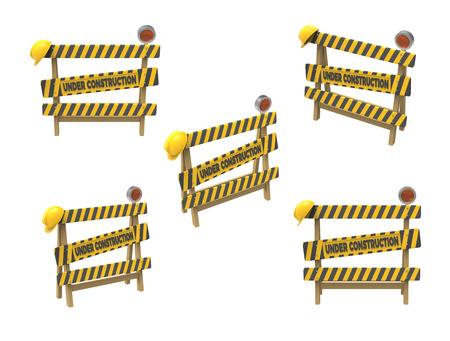 In aanbouw concept. De barrière, de helm en de lantaarn isoleerden een witte achtergrond. 3D-rendering. 3D illustratie. Stockfoto