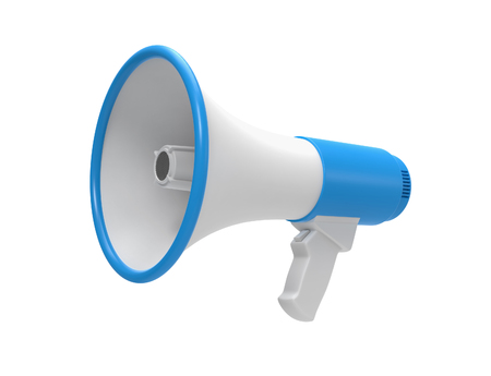 3d blauwe Megafoon geïsoleerd op een witte achtergrond.