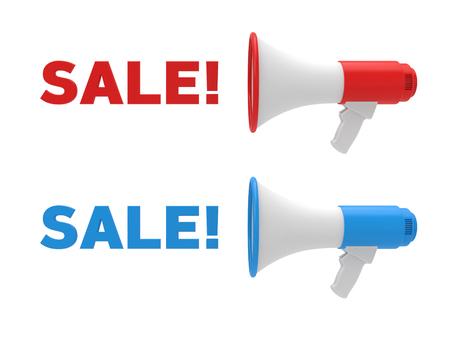 Twee verschillende kleuren megafoon en verkooptekst. Verkoopconcept. 3D-weergave. Stockfoto
