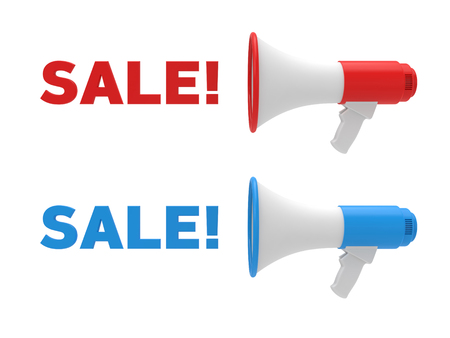 Two different color megaphone and sale text. Sale concept. 3D rendering.