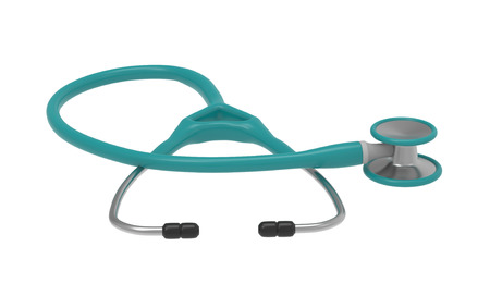 Stethoscope isolated on a white background. 3d rendering. Healthcare and medicine concept. Фото со стока