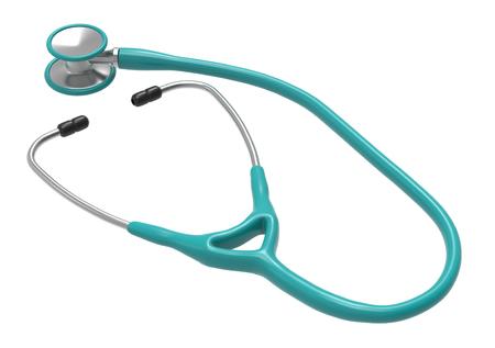 ターコイズ聴診器は、白い背景で隔離。3 d レンダリング。薬と健康管理の概念。