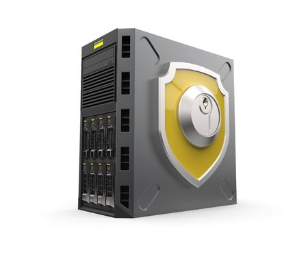 Network Server with shield and lock, isolated on white background. 3d rendering. Concept internet sequrity.